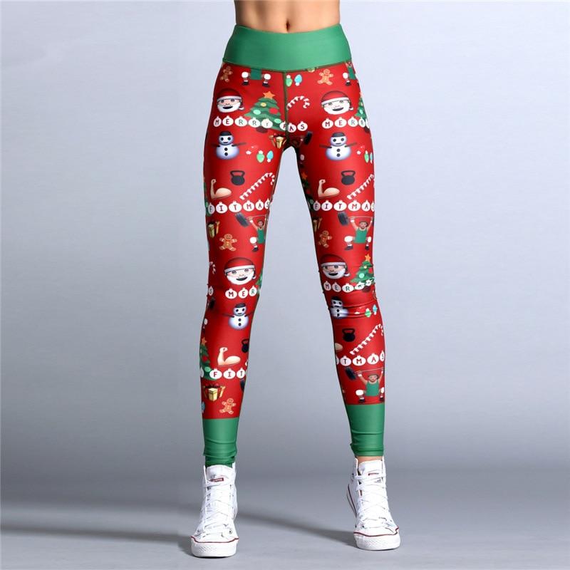 2019 Hayoha Christmas Printing Leggings Put Hip Elastic High Waist Legging Breathable Merry Christmas Pants 27