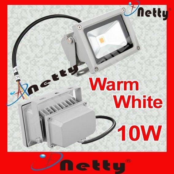 Free Shipping 1pcs Outdoor 10W LED FloodLight Spotlight bulbs lamp Warm White 85-240V IP65