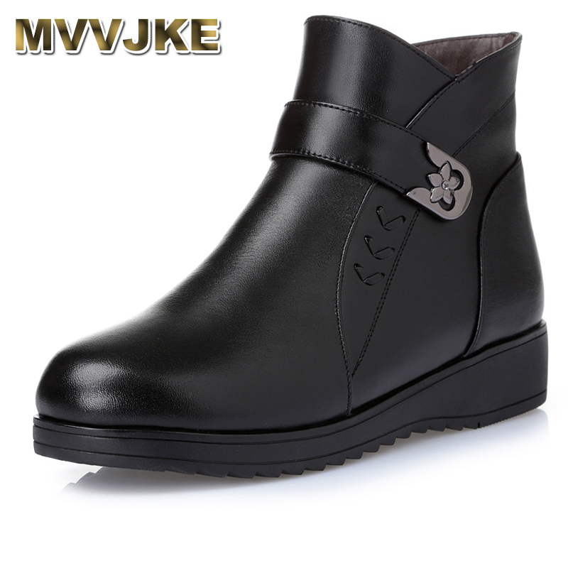 MVVJKE Women Boots 2018 Fashion Shoes Woman Genuine Leather Wedges Ankle Boots Winter Warm Wool Snow Boots Women's Shoes women boots 2017 fashion shoes woman genuine leather wedges ankle boots winter wool snow boots women shoes