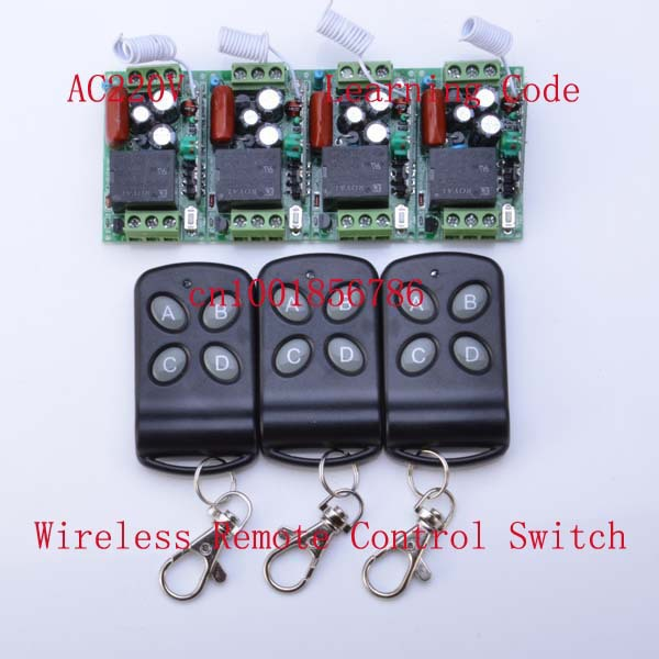 220V Wireless Remote Control Switch 4 Receiver 3 Transmitter Learning Code Momentary Latched adjusted 10A Mini Transmitter free shipping hot heat resistant party hair new wig cosplay lolita long mintcream curly heat split type wig