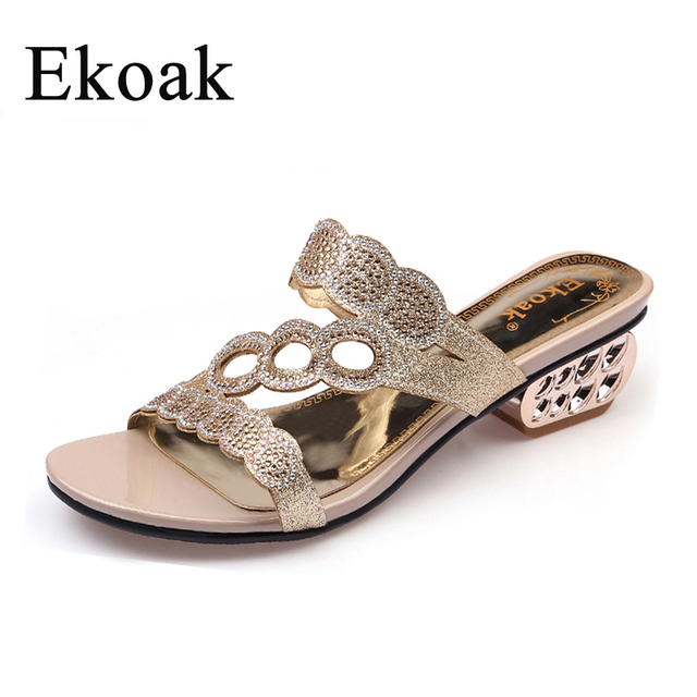b37cbb68632 Ekoak New 2018 Fashion Summer Shoes Woman Rhinestone Cut-outs Medium Heels  Sandals Ladies Party Dress Shoes Women