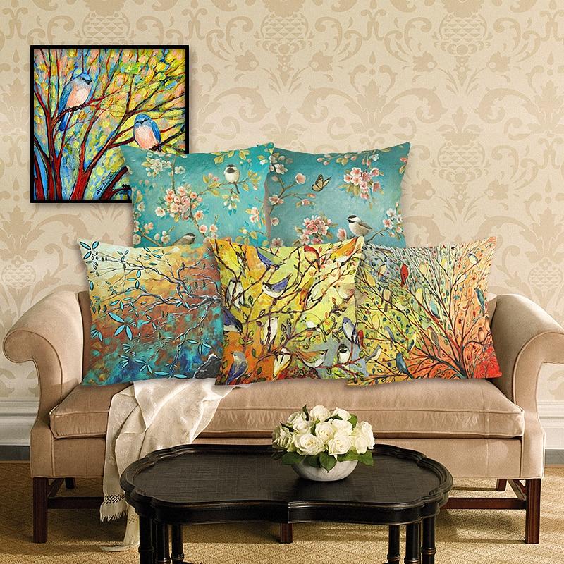 الأزياء النفط اللوحة الطيور المخدة الأزهار وسادة غطاء القطن الكتان مكتب وسادة القضية ديكور المنزل أريكة وسادة القضية
