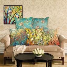 Fashion  Oil Painting Bird Pillowcase  Floral Cushion Cover Cotton Linen Office Pillow Case  Home Decorative Sofa Cushion Case