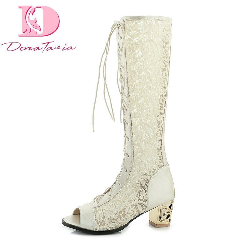 DoraTasia Brand Big Size 33-46 Lace Upper Square Heels Fashion Summer Boots Trendy Knee High Boots Woman Shoes