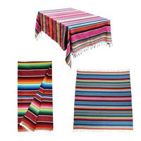 Mexican Style Tassel Tablecloth Rainbow Pattern Cotton Color Strip Shawl Carnival Blanket Party Wedding Decoration 2019 New