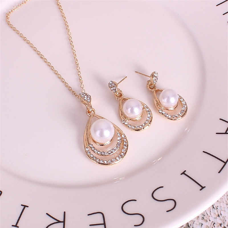 M MISM New Design Fashion Pearl Jewelry Set Korean Gold Silver Pendant Necklaces Earrings for Women Wedding Jewelry Accessories