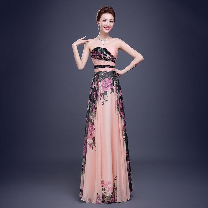 Elegante vestidos de baile largo impreso Floral de las mujeres ...