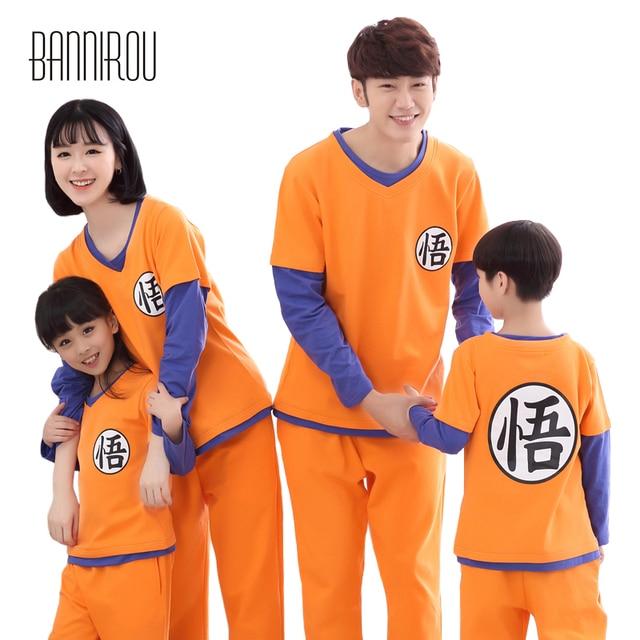 fc08ba2a68c8 Dragon Ball Family Pyjama Set 100 Cotton Cosplay Home Clothing For Kid Dad  Mom Full Pajamas
