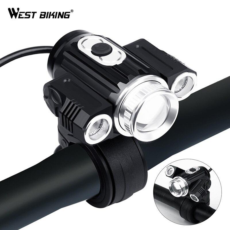 OUEST VÉLO Vélo Projecteur T6 LED 18650 Batterie USB Rechargeable Zoomables 800 Lumens Réglable Avec Feux Arrière Vélo Lumières