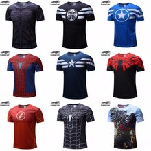 Envío Gratis 2018 Camiseta Superman/Batman/spider man/captain America/Hulk/Iron Man/camiseta para hombres camisetas de fitness para hombres(China)