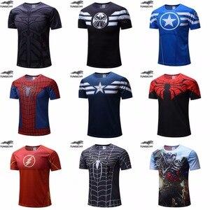 Free shipping 2018 t-shirt Superman/Batman/spider man/captain America /Hulk/Iron Man / t shirt men fitness shirts men t shirts(China)