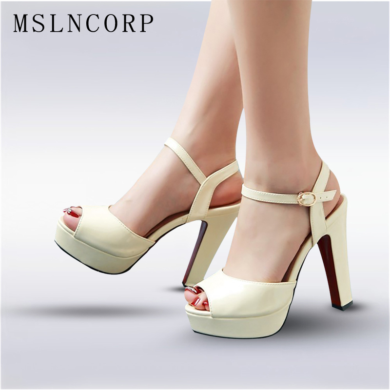 цена на plus size 34-43 New women summer Peep Toe shoes ladies platform Concise Pumps sexy high heel sandals party Dress Wedding Sandals