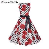 Dreamjieshi Summer Woman Vintage Dress Polka Dot Print Elegant Party Waist Self Cultivation Sleeveless Cute Vintage