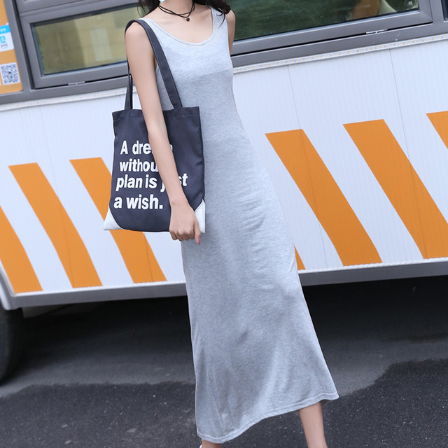 New women black long maxi dress summer autumn beach party office casual sleeveless O neck sundress female clothing