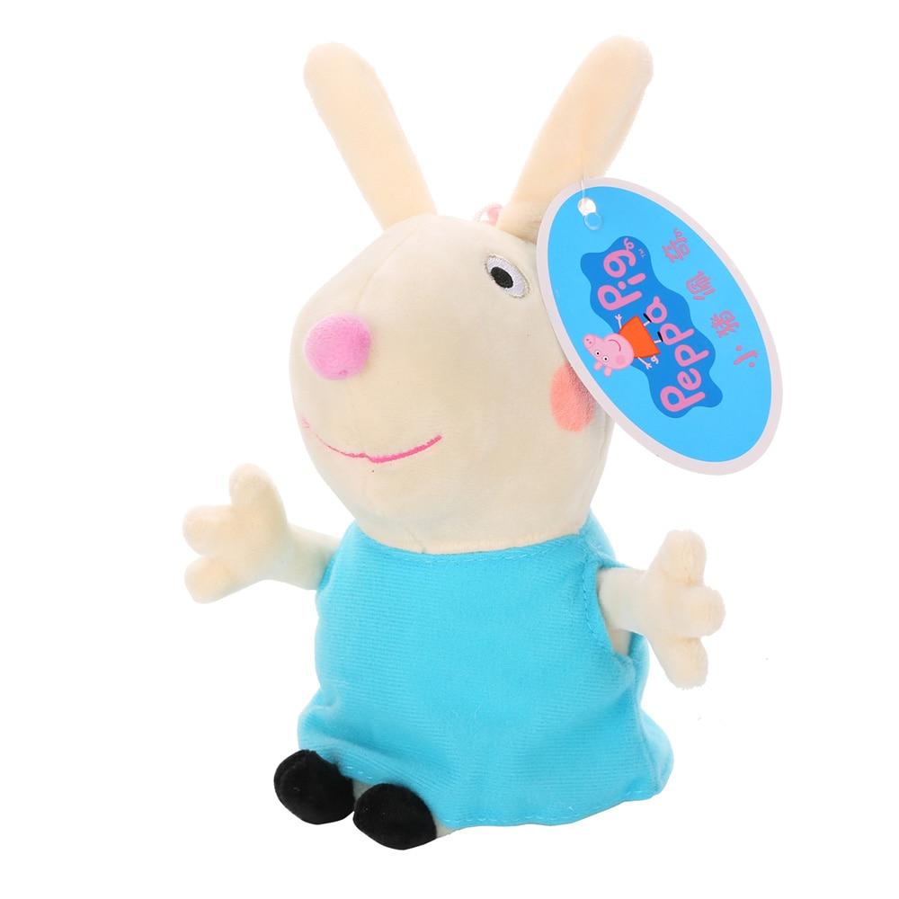 Оригинальные 19 см Свинка Пеппа Джордж Животные Мягкие плюшевые игрушки мультфильм семья друг свинка вечерние куклы для девочек детские подарки на день рождения - Цвет: B