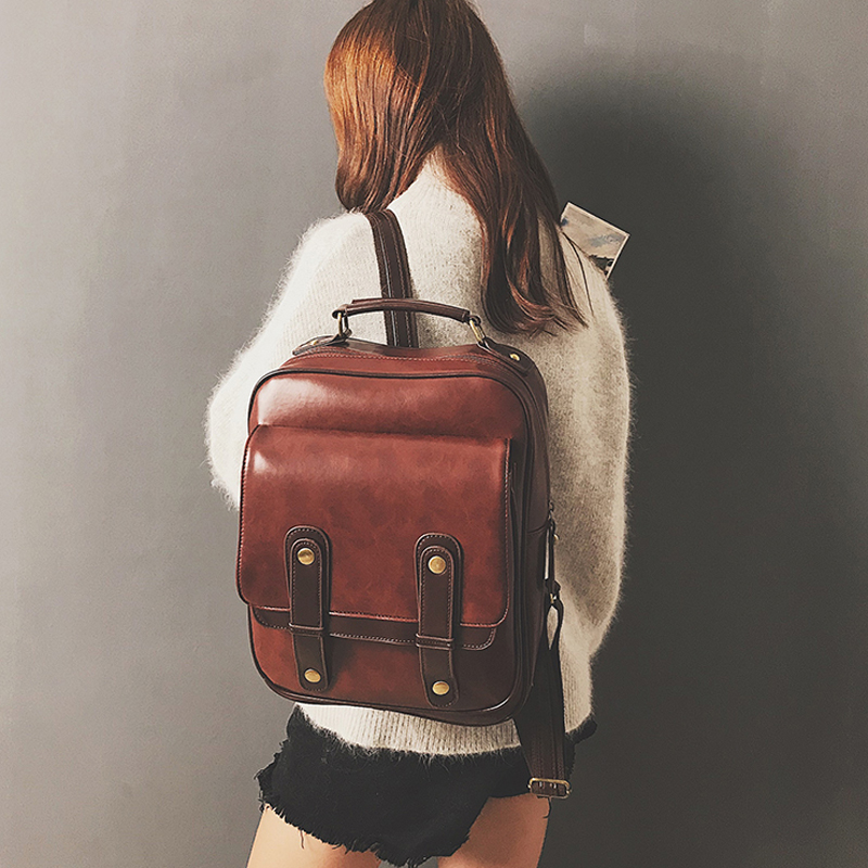 Women Backpack New Fshion Girl Large Capacity Leather School