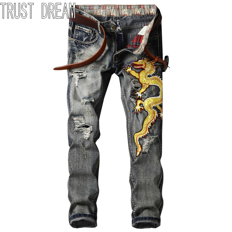 TRUST DREAM Europeans Designed Men Ripped Hole Jean Embroidery Yellow Dragon Casual Distressed Slim Man Fashion Persoanal Jeans l jean camp trust
