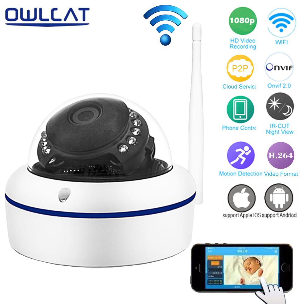 OwlCat Full HD 1080P 720P Wifi IP Camera 2MP P2P IR Onvif Smart Dome Network Video Surveillance Security Camera iPhone Android owlcat wifi ip camera bullet outdoor waterproof onvif wireless network kamara 2mp full hd 1080p 720p security cctv camera