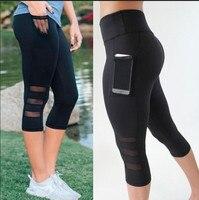2017 Nuove Donne di Yoga Pantaloni Elasticità Splicing Garza Scava Fuori Leggings Fitness per Le Donne Plus Size Sexy Femminile Collant Sportivi