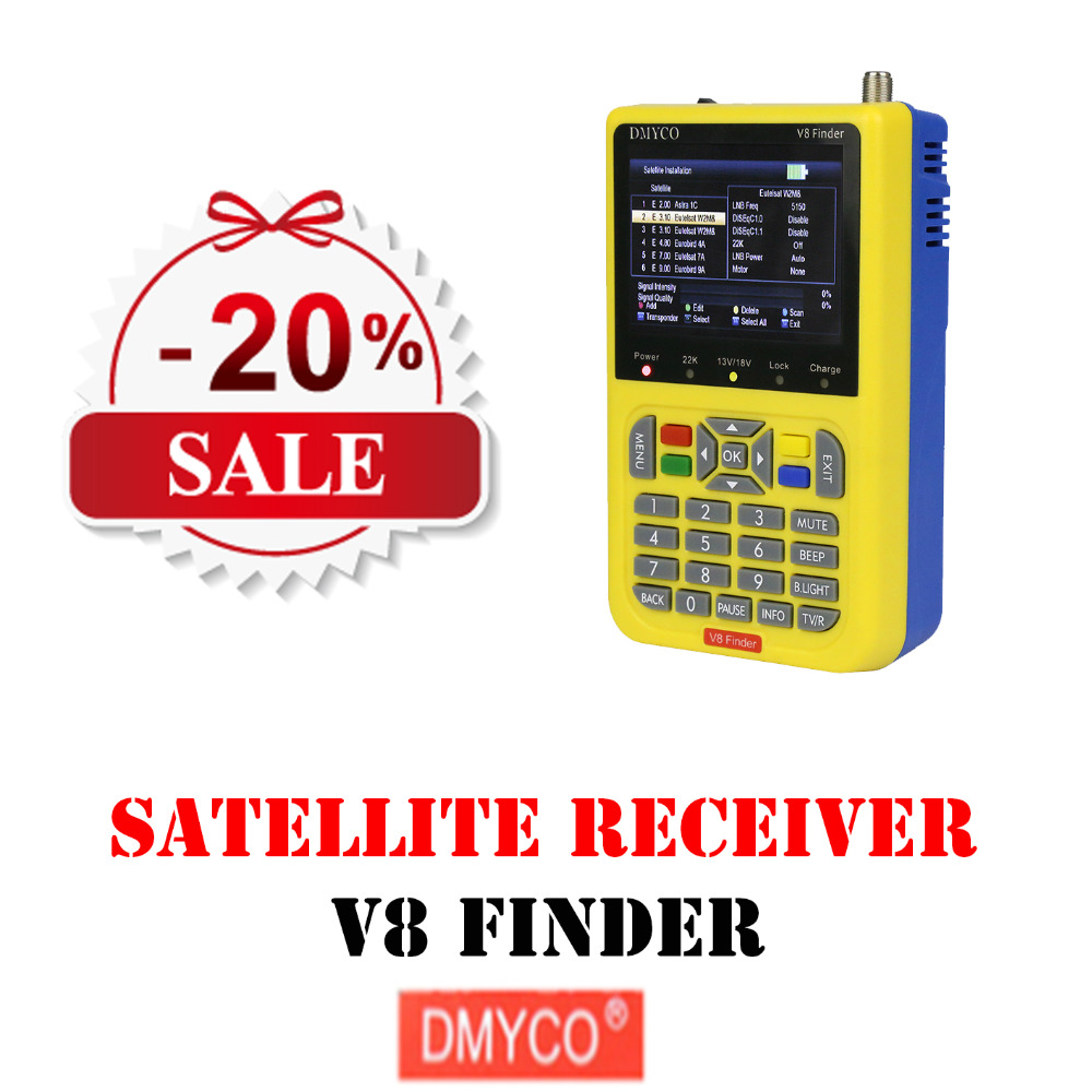DMYCO V8 Satellite Finder DVB-S2 High Definition satfinder satlink MPEG-2 MPEG-4 meter With LCD Screen Display Satelite Finder bnc male to bnc male right angle plug to plug rg179 cable 30cm for sdi camera camcorder