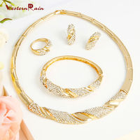WesternRain Gold Plated Jewelry Set 18K Of 4 Pieces High Quality Charming Wedding Bridal Jewelry Set