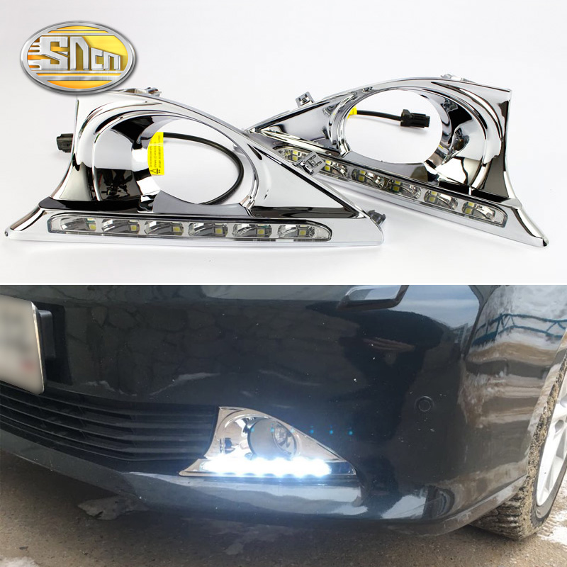 For Toyota Camry 2012 2013 2014,With Chromed Cover Dimming Style Relay Waterproof 12V Car LED DRL Daytime Running Light SNCN sncn led daytime running lights for toyota prado 150 fj150 lc150 2010 2013 drl fog lamp cover with dimming function