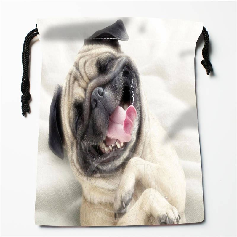 T#!r83 New Pug Dog Puppy Custom Printed  Receive Bag Compression Type Drawstring Bags Size 18X22cm 7&12ft-r83