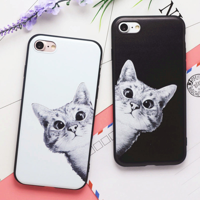 e67eee62d7 Cute Cartoon Animal Cat Couple Phone Cases For iphone 6 Case Black white  Soft Silicone Cover Fundas For iphone 6S 5s 7Plus Coque