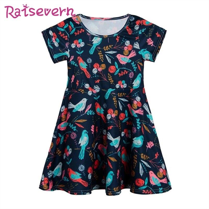 9f15d7223c3c Summer Birds Floral Leaf Printing Dresses Princess Party Dress Teenage  Children s Short Sleeve Clothing Kids Dress