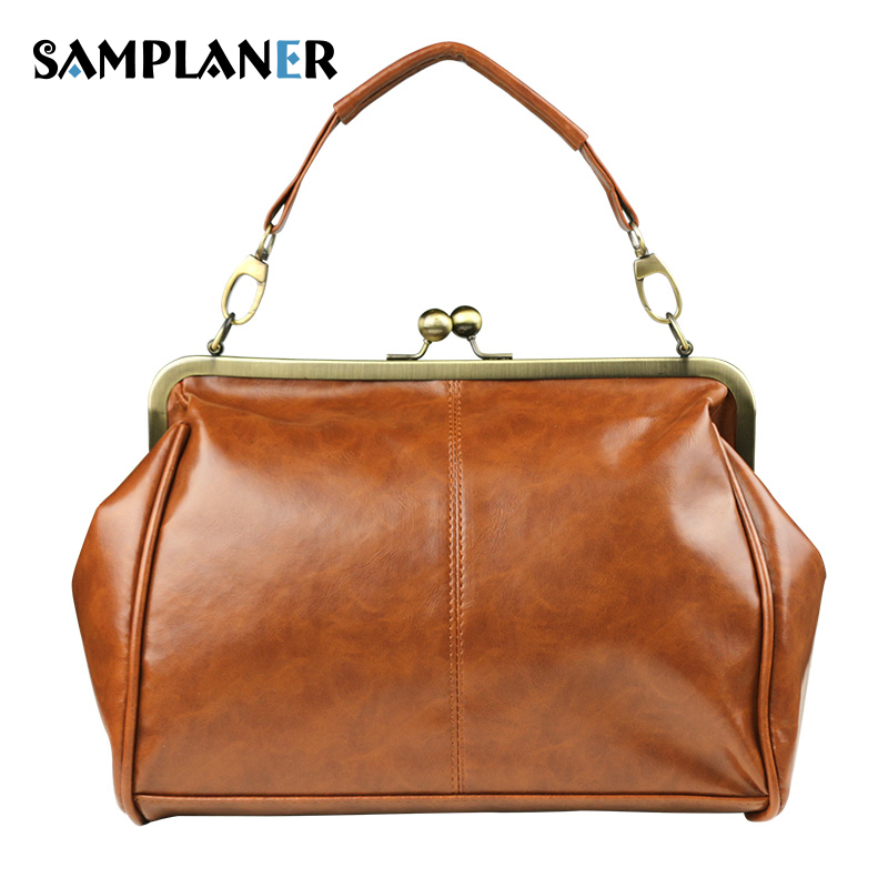 Samplaner Vintage Lady Handbags Quality Split Leather Top-handle Bags Women Shoulder Bag Female Oil Wax Handbag for Phone Purse 2pcs set vintage handbags women messenger bag female purse solid shoulder office lady casual tote genuine leather top handle bag