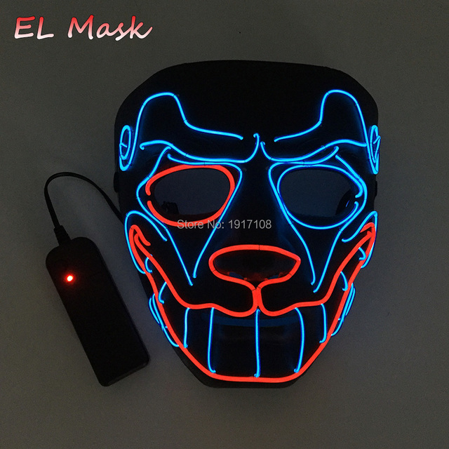 EL Wire Mask Light Up Neon Skull LED Dog Mask and Sound Activated EL ...
