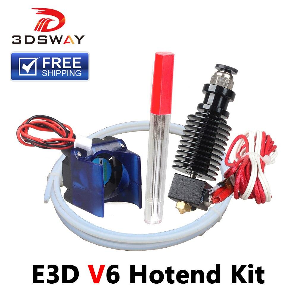Envío gratuito 3 DSWAY 3D piezas de impresora hotend e3d v6 Kit 1,75mm 0,4 12 V 24 V con ventilador de refrigeración Teflon tubo j-head extrusor remoto