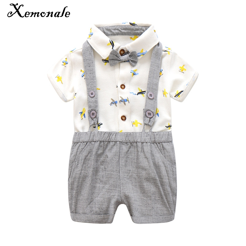 Xemonale Summer Baby Boy Clothing Sets 2018 New Cotton Baby Suits Casual Cartoon Printed Shirt+Straps Shorts Bebe Clothes 0 2Yrs