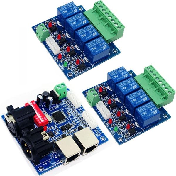 2x4CH commutateur de relais dmx512 RGB led de contrôle, sortie 16CH TTL signal DMX512 XRL RJ45 commutateur de relais (max 10A) pour les lumières à bande led
