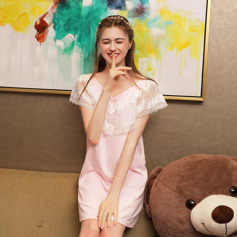 2019 Summer Sleep Lounge Women Cute Sleepwear Cotton   Nightgowns   Lace V-Neck   Sleepshirts   Thin Nightdress Princess