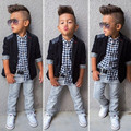 Boys European American Style Fashion Kid Clothing Sets t-shirt+coat+ jeans 3 pcs set suit Spring autumn children clothing set