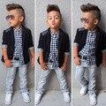 Boys European American Style Fashion Kid Clothing Sets t-shirt+coat+ jeans 3 pcs set suit Spring autumn children clothing set