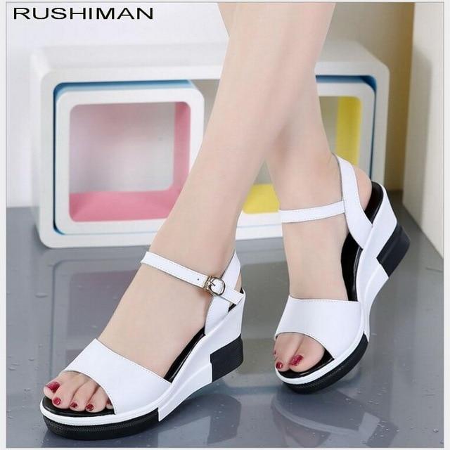 cab6f864c3da 2018 New Women sandals white flat wedge sandals Summer ladies high heels  Platform white flipflops heeled sandals