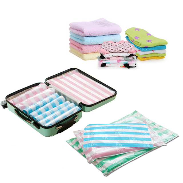 2pcs Clothes Compression Storage Bags Hand Rolling Clothing Plastic