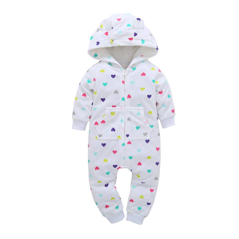 HTB13WDsH1OSBuNjy0Fdq6zDnVXaI 2018 New Bebes Clothes Newborn One Piece Fleece Hooded Jumpsuit Long Sleeved Spring Baby Girls Boys Body Suits Romper