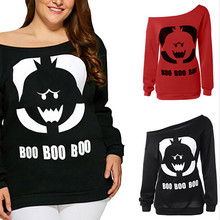 d84999283fd Long sleeve shirt women Halloween Pumpkin Face Sweatshirt tshirt Tops Tops  mujer Plus