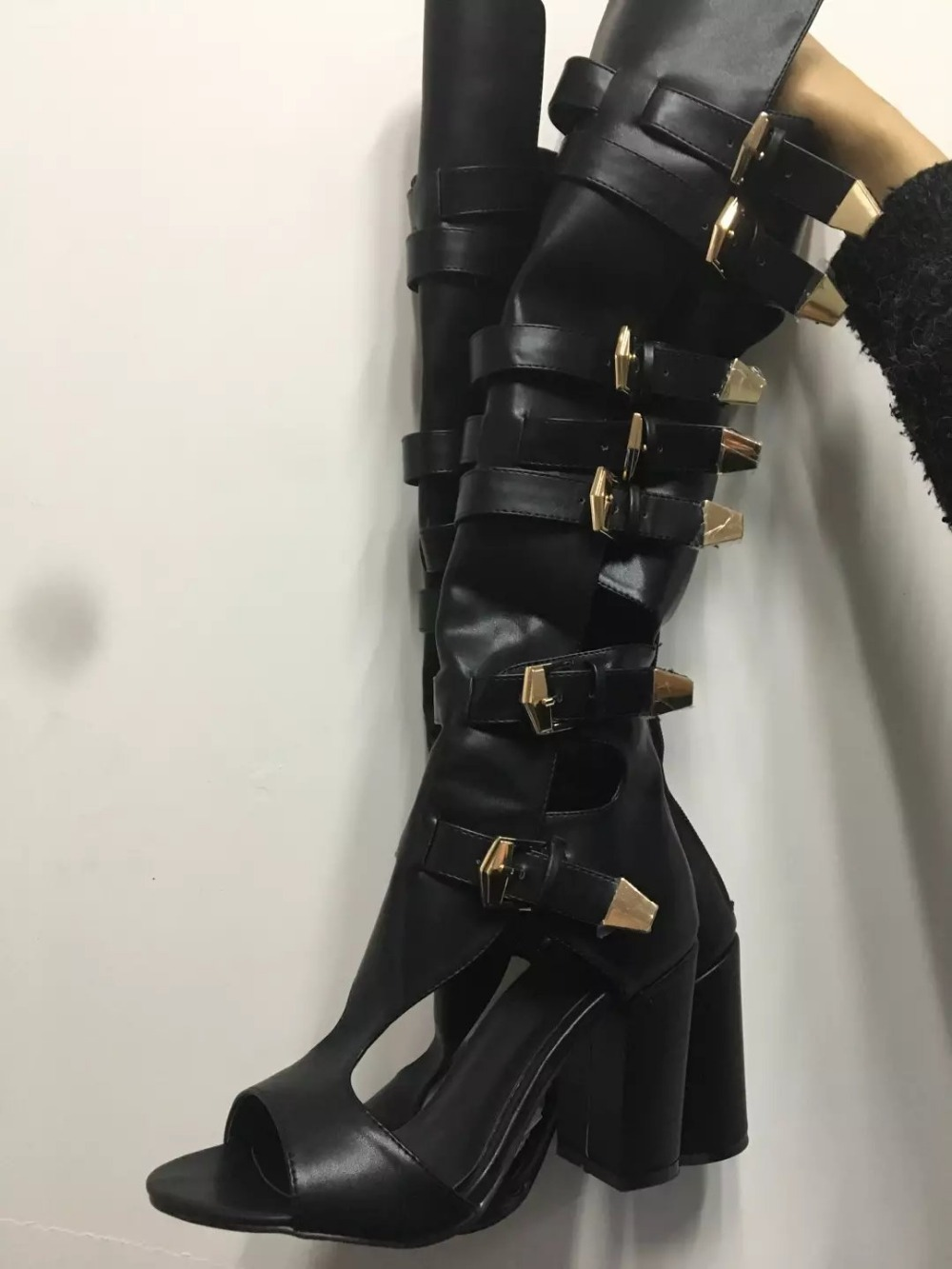 real picture 2017 summer women sandals square heels high heels over the knee boots cut-outs black gladiator sandals women back zipper tassel sandals 2017 summer style cut outs gladiator booties black leather stiletto high heels platform short boots