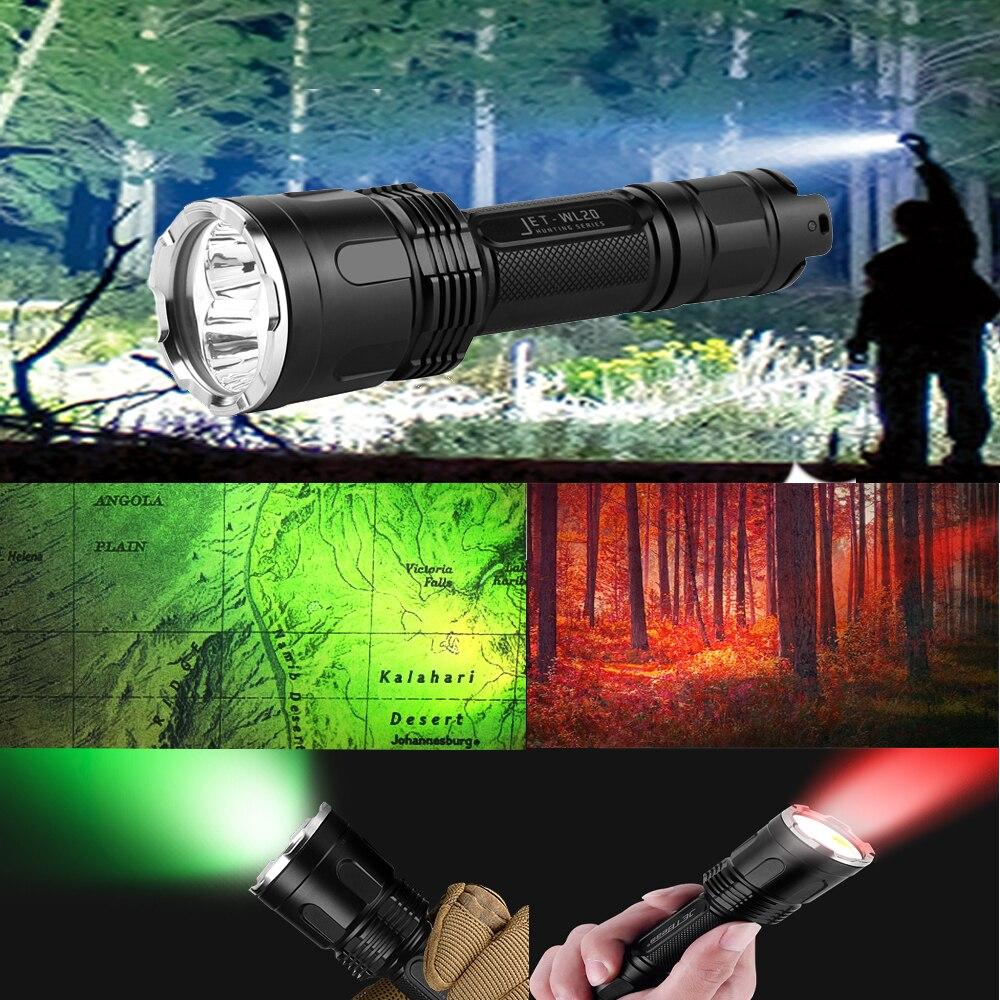 JETBEAM WL20 Flashlight 1000 Lumens with USB charge 18650 2600mah rechargeable battery triple light white red green 杰特明 jetbeam sf r28 1500lm 京东专供 高亮长续航户外强光手电筒 usb充电 18650电池