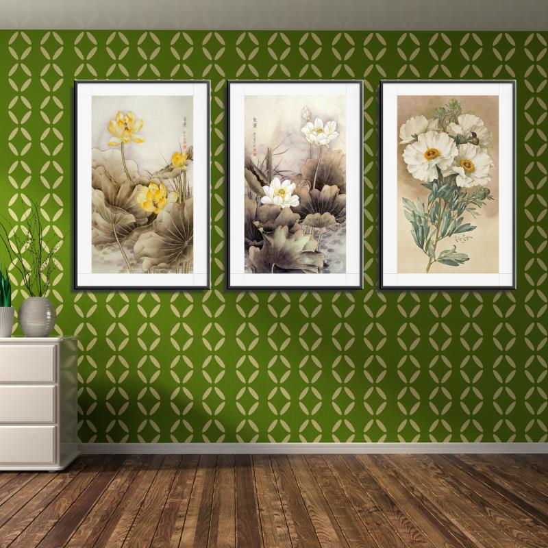 Frameless Canvas Art Oil Painting Flower Painting Design: Lotus Lotus Leaf Yellow Flower Traditional Chinese Home