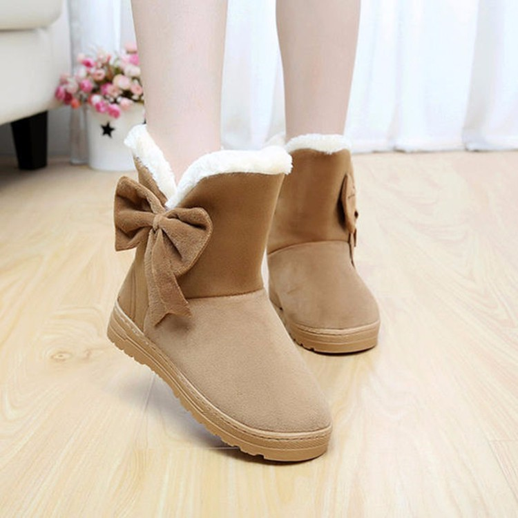 Women Snow Boots 2016 Warm Solid Plus Velvet Flat Women Boots Winter Bowtie Casual Shoes Round Toe Wild Ladies Shoes SNF905 (5)