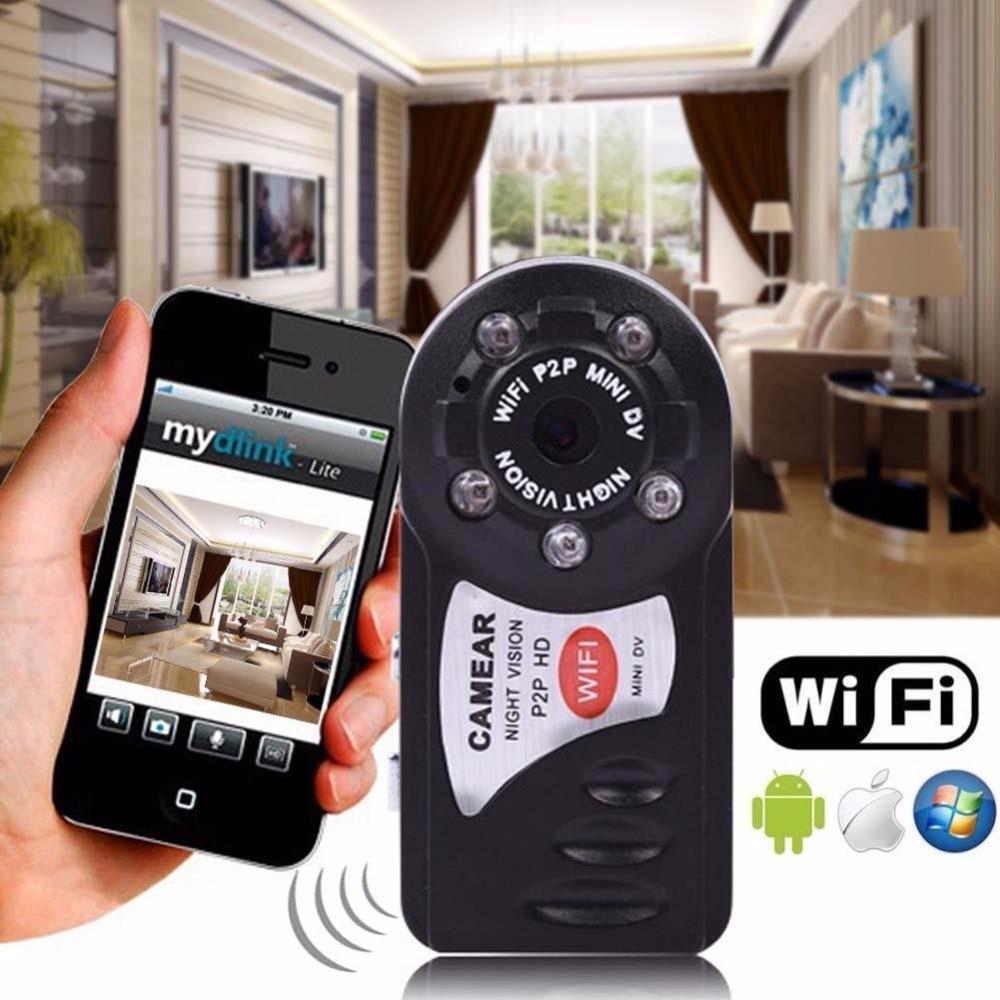 Mini IP Wifi Camara Nuit Vision DV DVR Sans Fil Cam marque Q7 Nouvelle Vidéo Caméscope Enregistreur Infrare Espia Candide Nounou Secret