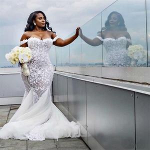 Image 2 - Robe De mariée style sirène, grande taille, épaules dénudées, dentelle africaine, avec application, 2020