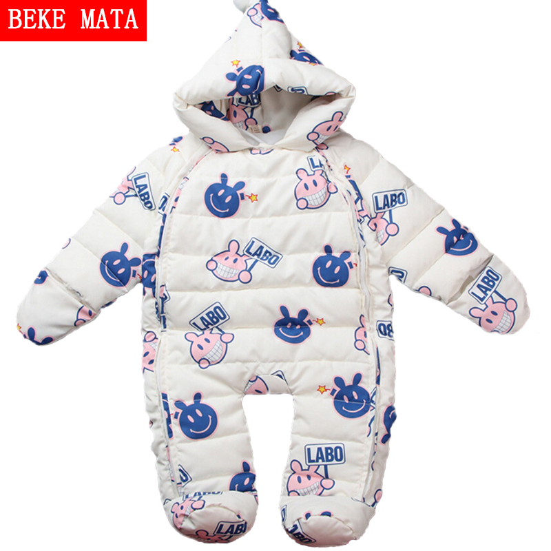 ФОТО Newborn Baby Girl Clothes Winter Coveralls For Boys 2016 Warm Down Baby Rompers Long Sleeve Cartoon Hooded Children's Jumpsuit