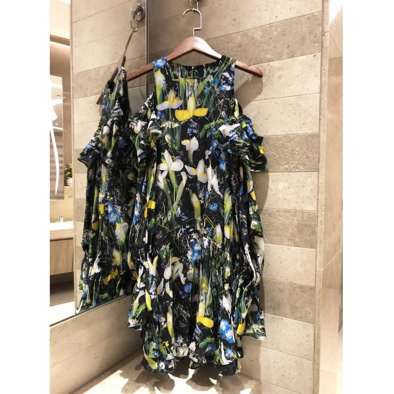 2019 femmes de soie imprimer robe d'été robe Haute qualité plage casual sexy Hors-la-épaule à manches longues robe