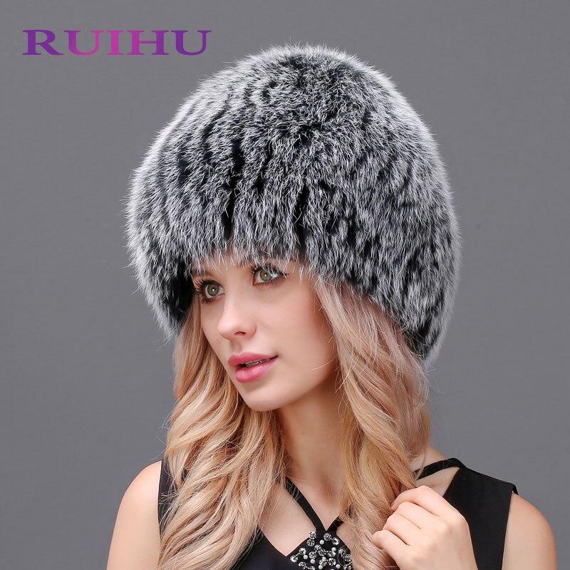 RUIHU Women Real Natural Silver Fox Fur Hat Female Genuine Winter Women Fur Caps Lady Headgear Beanies For Ukraine RHM641